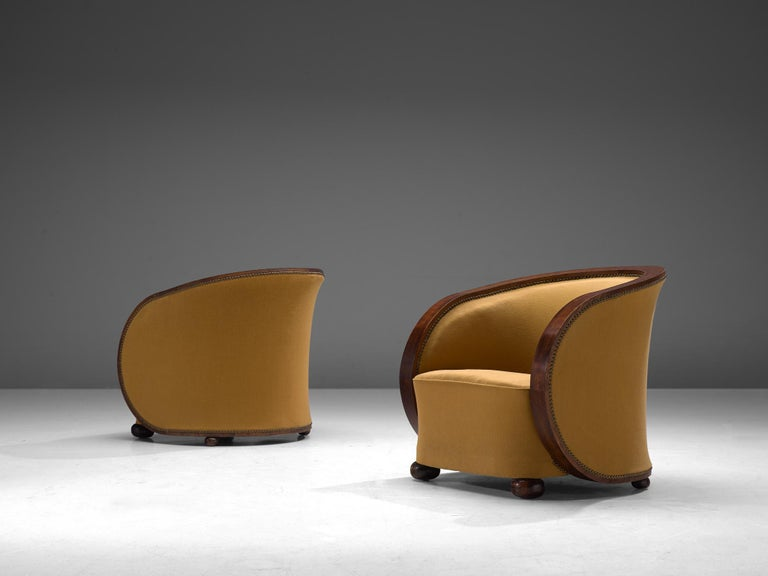 Mid-Century Modern Pair of French Art Deco Lounge Chairs in Yellow Upholstery For Sale