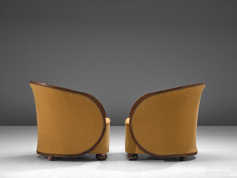 Fabric Pair of French Art Deco Lounge Chairs in Yellow Upholstery For Sale