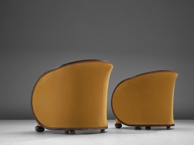 Pair of French Art Deco Lounge Chairs in Yellow Upholstery For Sale 2