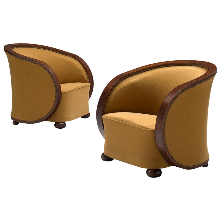 Pair of French Art Deco Lounge Chairs in Yellow Upholstery For Sale