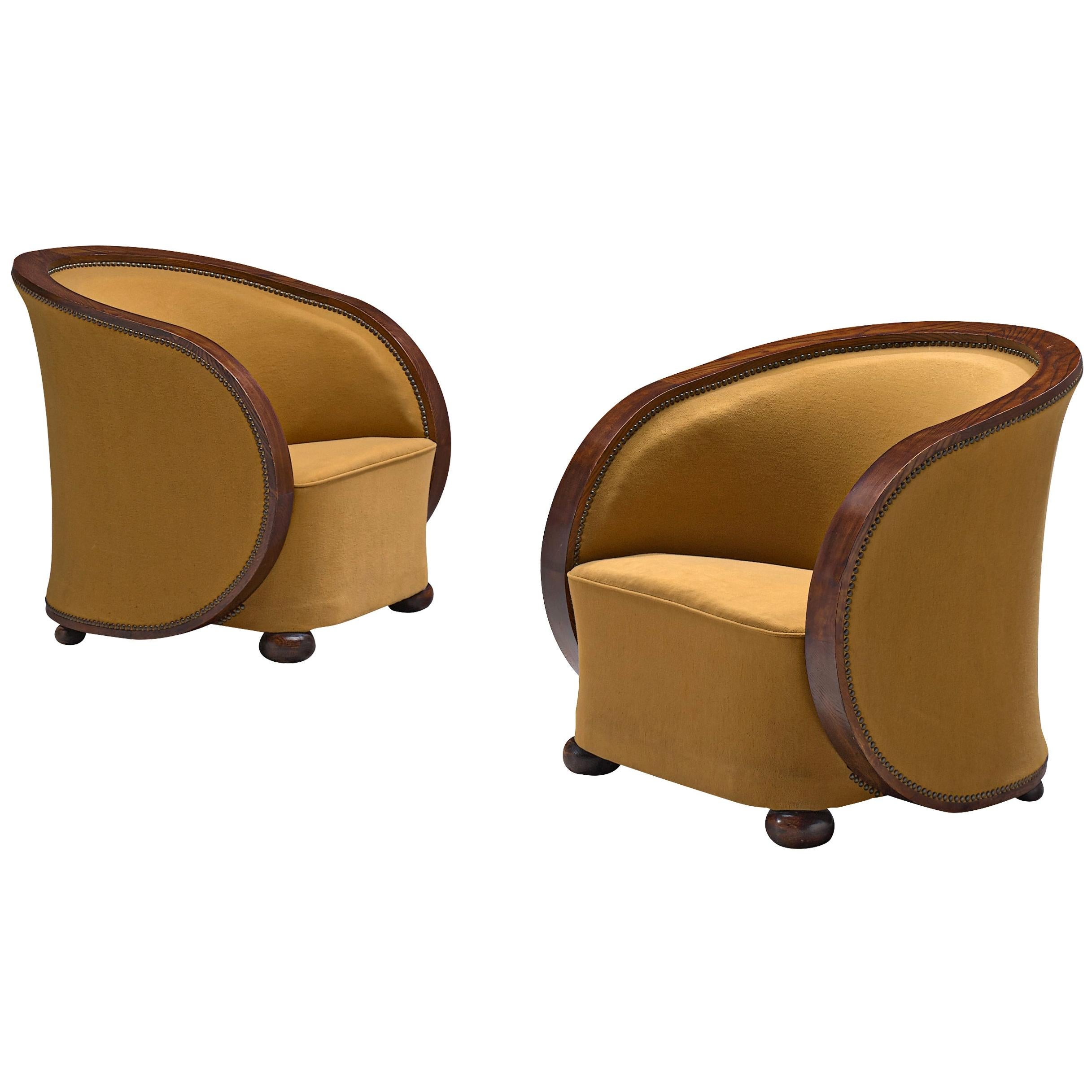 Pair of French Art Deco Lounge Chairs in Yellow Upholstery