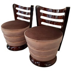 Pair of French Art Deco Low Stools with Walnut Gill Shape Backrest