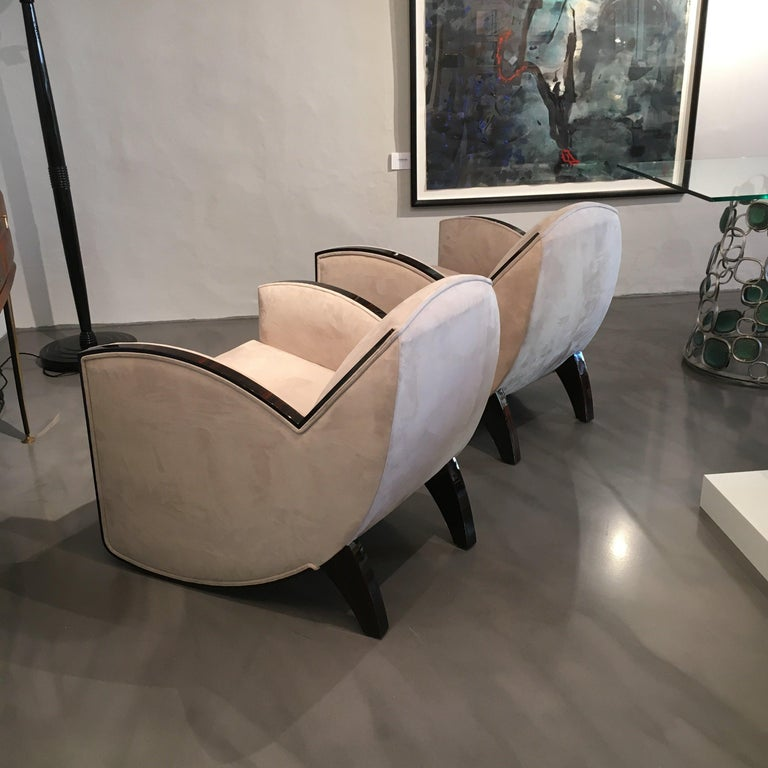 Contemporary Pair of French Art Deco Macassar Armchairs in the Style of Jules Leleu For Sale