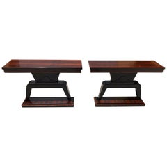 Pair of  French Art Deco Macassar Ebony Console Tables, 1940s