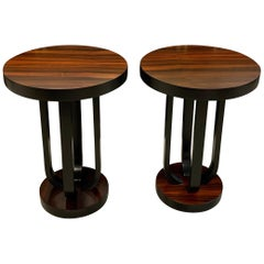 Pair of French Art Deco Macassar Ebony Side Table or Accent Table
