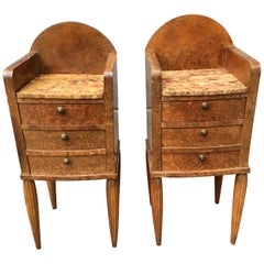 Pair Of French Art Deco Marble-Top And Burlwood Night Stands