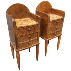 Pair of French Art Deco Marble Top and Burlwood Tables