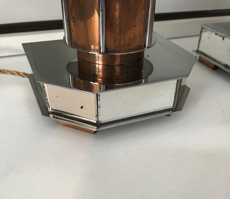 Pair of French Art Deco/Modernist Chrome & Copper Table Lamps with Glass Shades For Sale 4