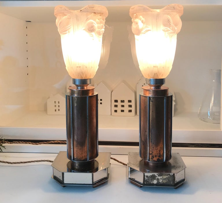 Pair of French Art Deco/Modernist Chrome & Copper Table Lamps with Glass Shades For Sale 10