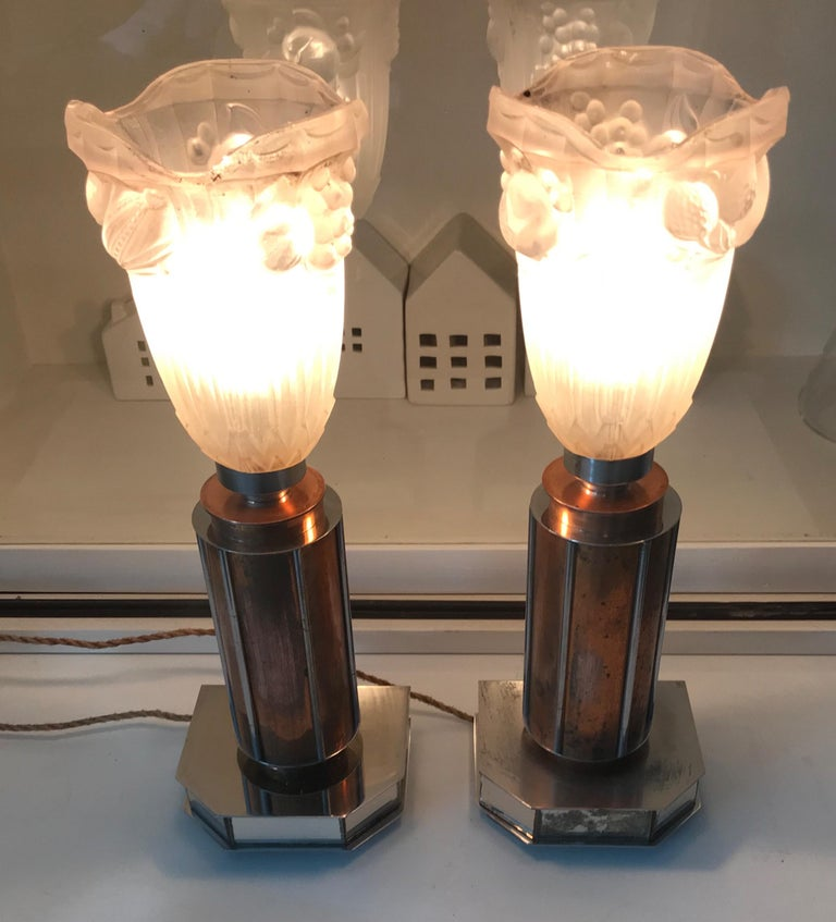 Pair of French Art Deco/Modernist Chrome & Copper Table Lamps with Glass Shades For Sale 11