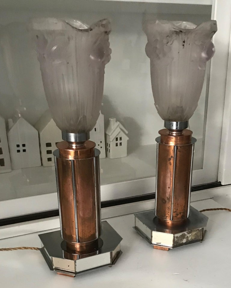 Hand-Crafted Pair of French Art Deco/Modernist Chrome & Copper Table Lamps with Glass Shades For Sale