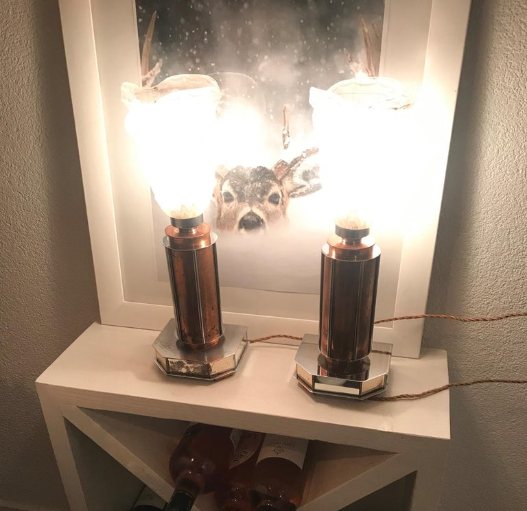 Pair of French Art Deco/Modernist Chrome & Copper Table Lamps with Glass Shades For Sale 1