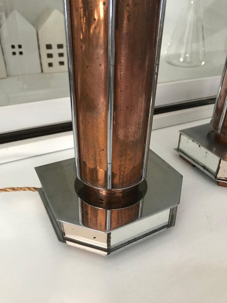 Pair of French Art Deco/Modernist Chrome & Copper Table Lamps with Glass Shades For Sale 3