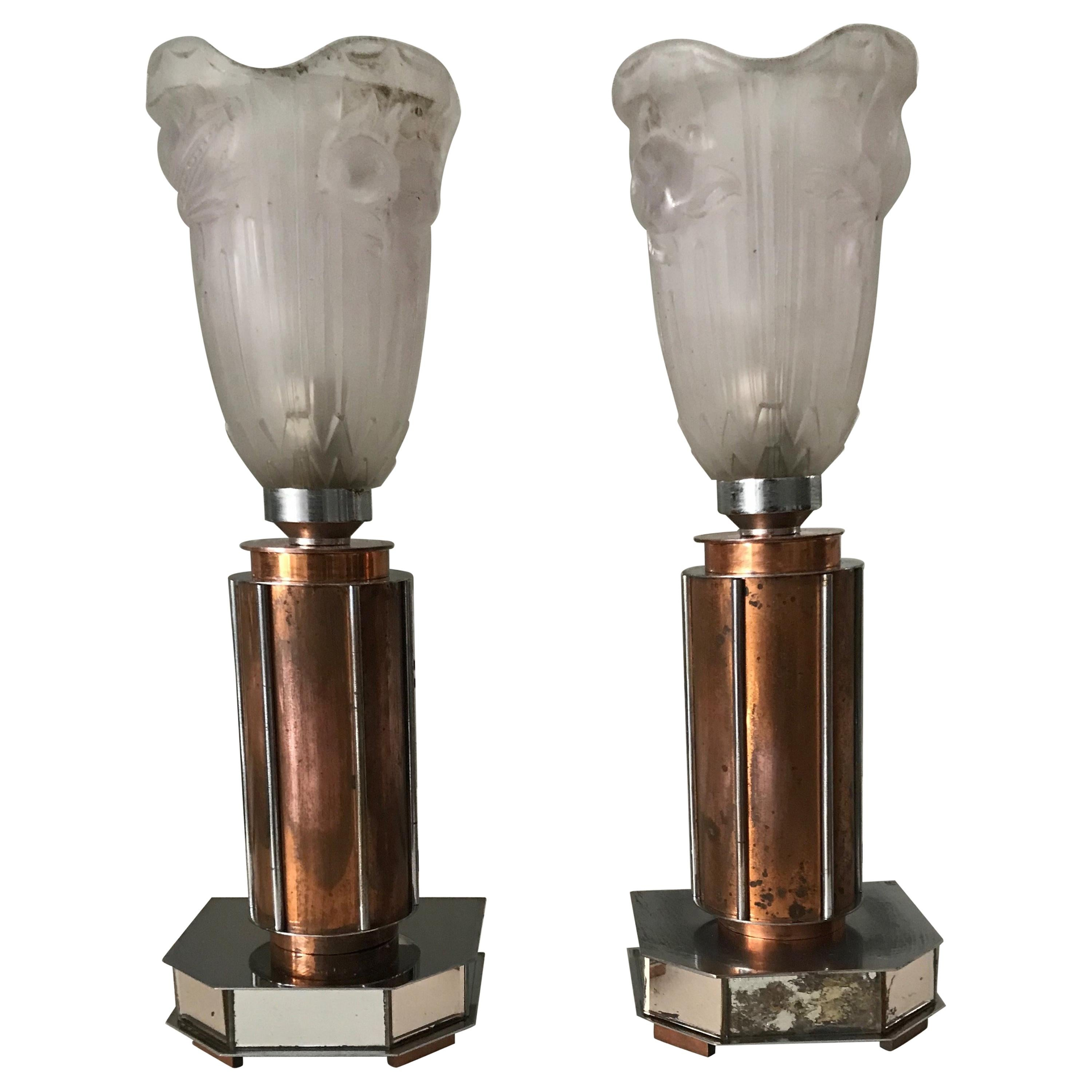 Pair of French Art Deco/Modernist Chrome & Copper Table Lamps with Glass Shades