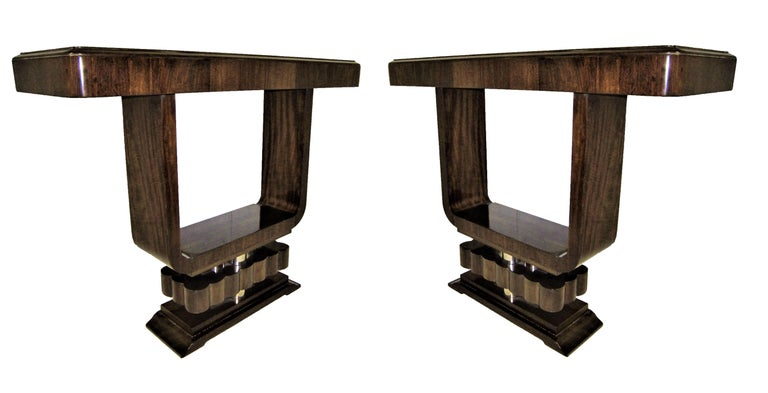 Pair of French Art Deco/ Modernist Cubist Consoles For Sale 7