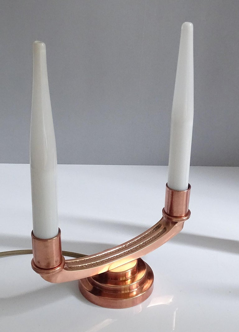 Pair of French Art Deco Modernist Uplighter  Lamps, Brass Copper Glass  Lights For Sale 7