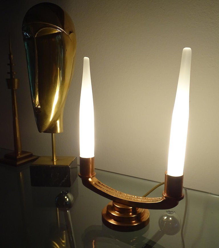 Pair of French Art Deco Modernist Uplighter  Lamps, Brass Copper Glass  Lights For Sale 9