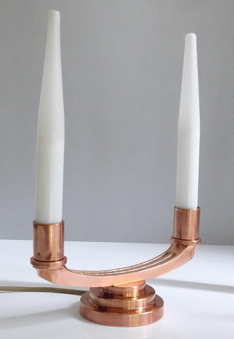 Pair of French Art Deco Modernist Uplighter  Lamps, Brass Copper Glass  Lights For Sale 10