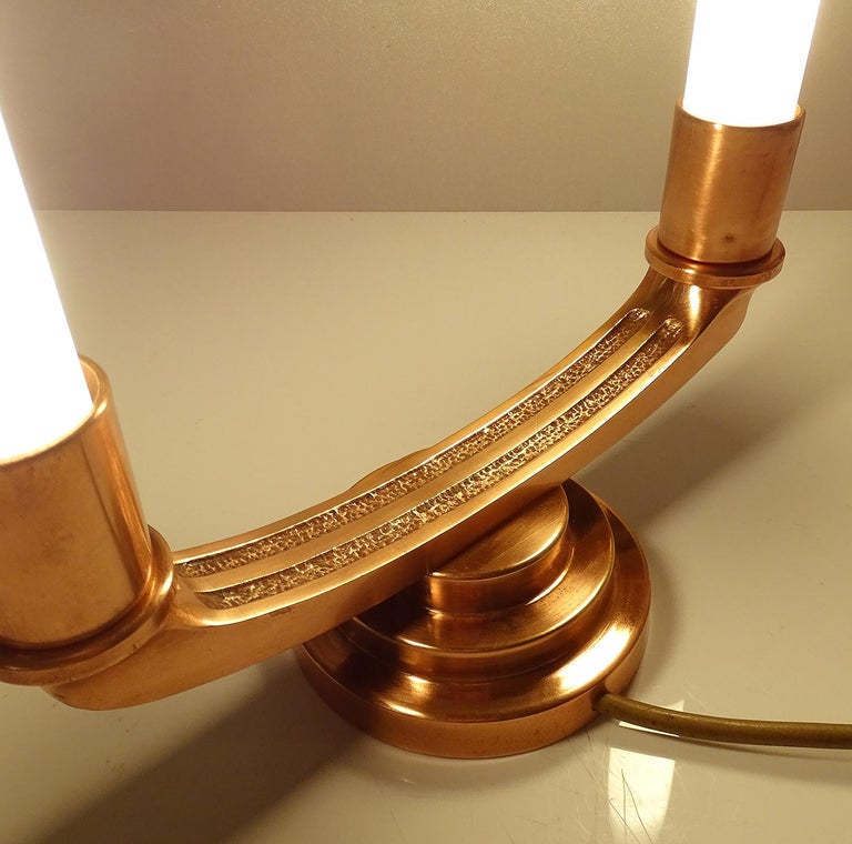 Pair of French Art Deco Modernist Uplighter  Lamps, Brass Copper Glass  Lights For Sale 12