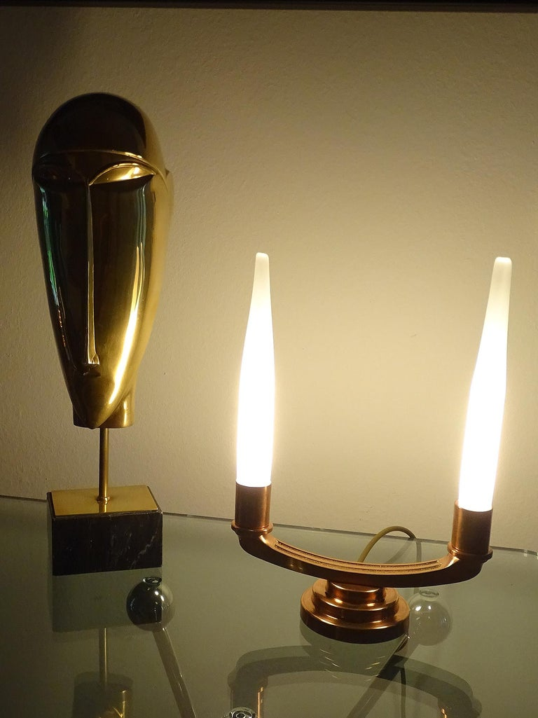 Bronze Pair of French Art Deco Modernist Uplighter  Lamps, Brass Copper Glass  Lights For Sale