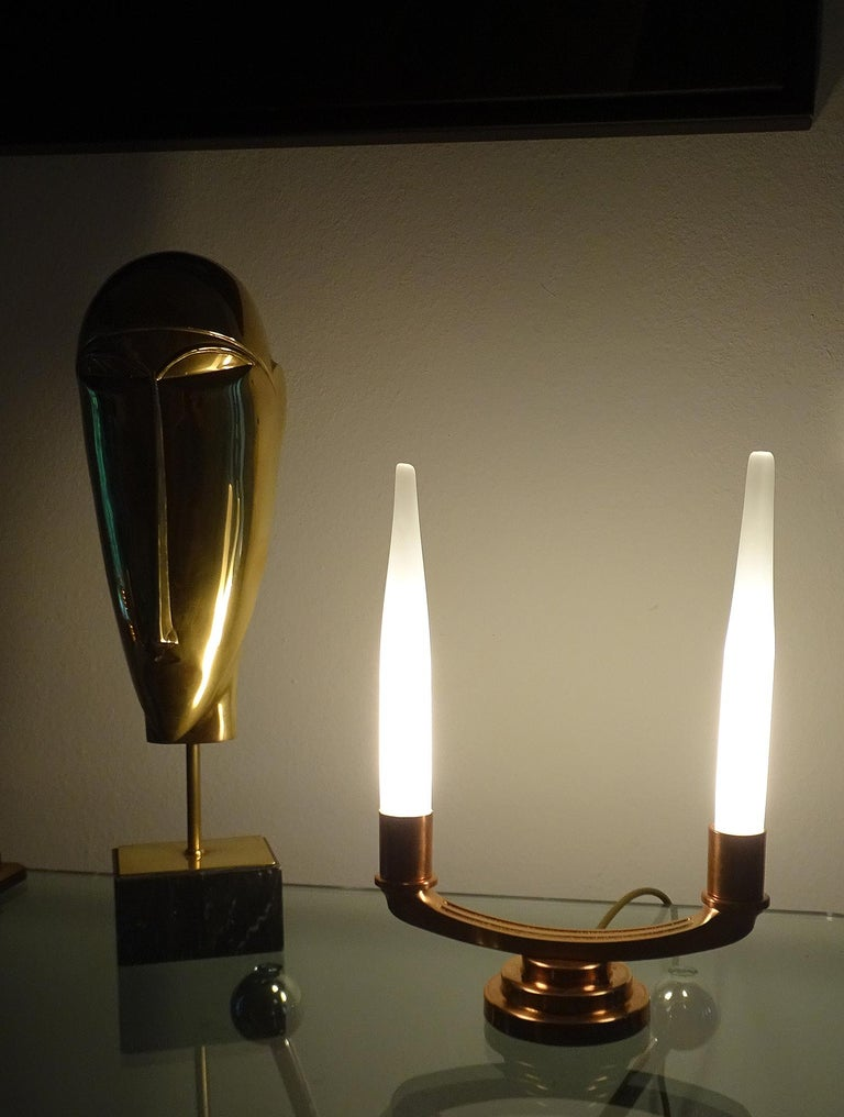 Pair of French Art Deco Modernist Uplighter  Lamps, Brass Copper Glass  Lights For Sale 4
