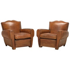 Pair of French Art Deco Moustache Back Leather Club Chairs Restored Internally