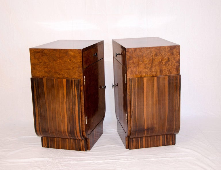 Tall Pair Of Macar Ebony And Carpathian Elm Burl French Art Deco Nightstands With One Drawer
