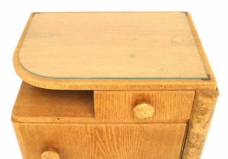 Pair of French Art Deco Oak and Burl Wood Nightstands For Sale 2