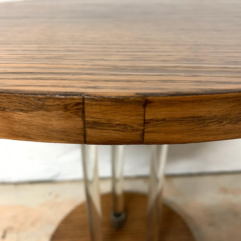 Pair of 20th Century Art Deco Oak and Glass Side or End Tables, France, 1930s For Sale 9
