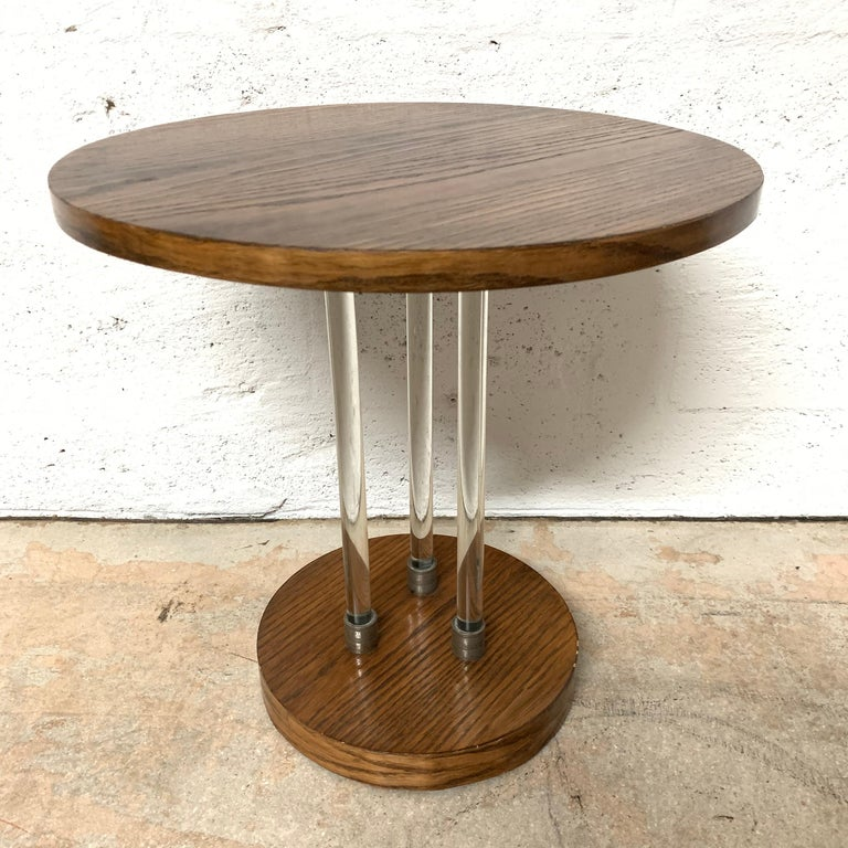 French Pair of 20th Century Art Deco Oak and Glass Side or End Tables, France, 1930s For Sale