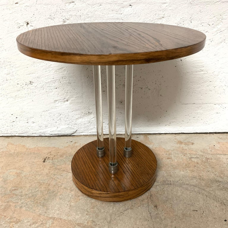 Pair of 20th Century Art Deco Oak and Glass Side or End Tables, France, 1930s In Fair Condition For Sale In Miami, FL