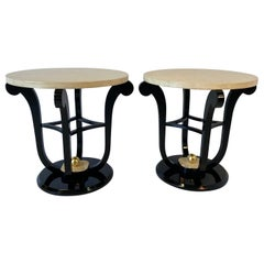 Pair of French Art Deco Parchment and Gold Leaf Side Tables