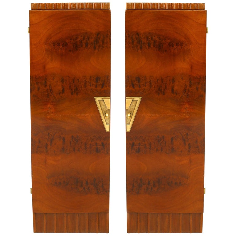 Pair of French Art Deco Pedestals Cabinets For Sale