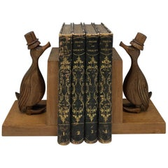 Pair of French Art Deco Period Hand Carved Wooden Bookends, Natural Walnut Wood