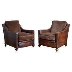 Pair of French Art Deco Period Leather and Velvet Upholstered Club Chairs