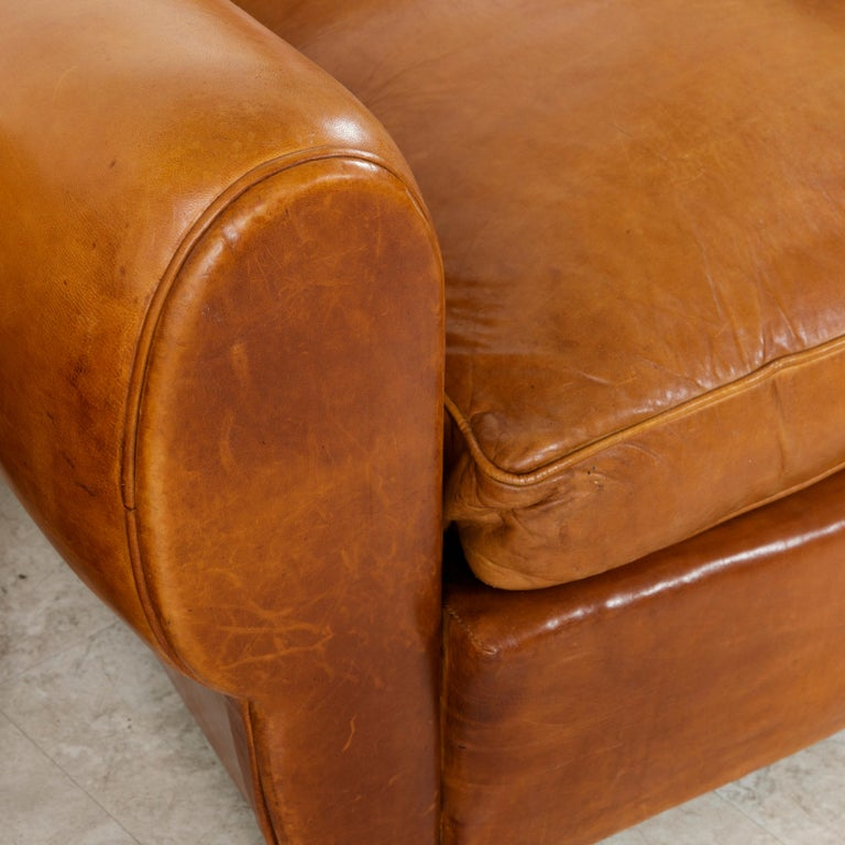 Pair of French Art Deco Period Leather Moustache Club Chairs, circa 1940 For Sale 6
