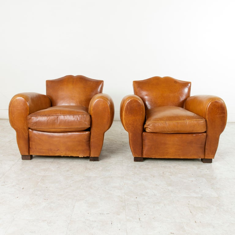 Pair of French Art Deco Period Leather Moustache Club Chairs, circa 1940 In Good Condition For Sale In Fayetteville, AR