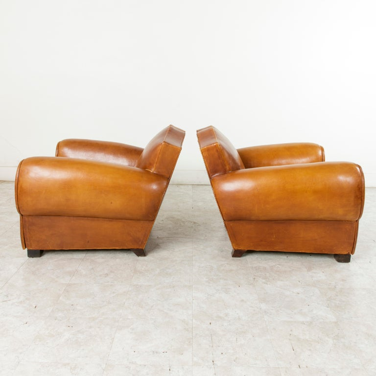 Mid-20th Century Pair of French Art Deco Period Leather Moustache Club Chairs, circa 1940 For Sale