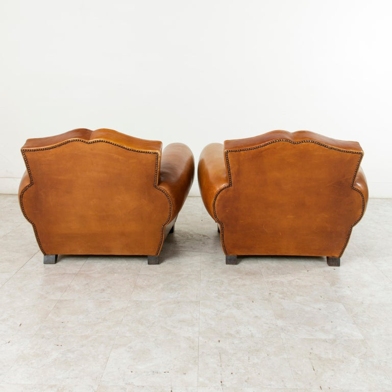 Pair of French Art Deco Period Leather Moustache Club Chairs, circa 1940 For Sale 1