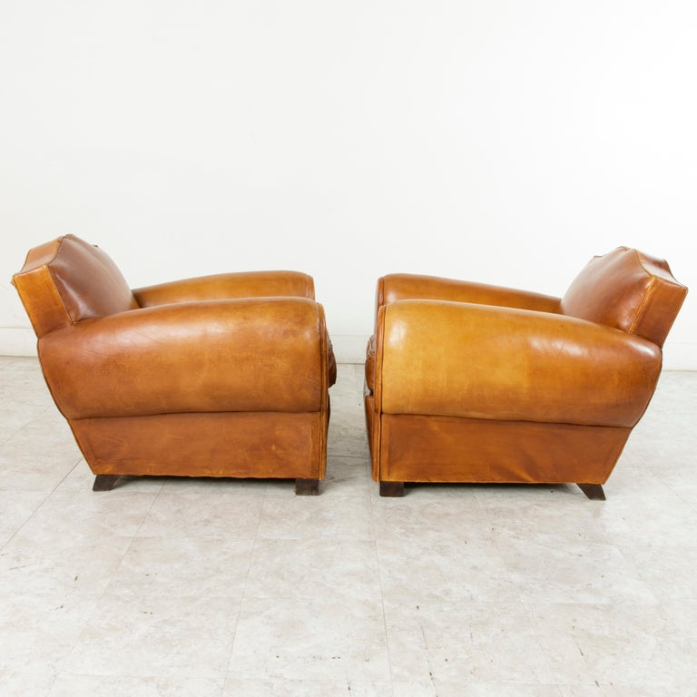 Pair of French Art Deco Period Leather Moustache Club Chairs, circa 1940 For Sale 2