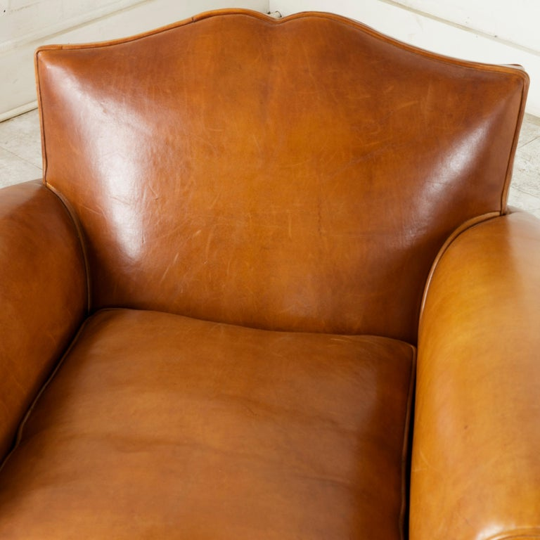 Pair of French Art Deco Period Leather Moustache Club Chairs, circa 1940 For Sale 3
