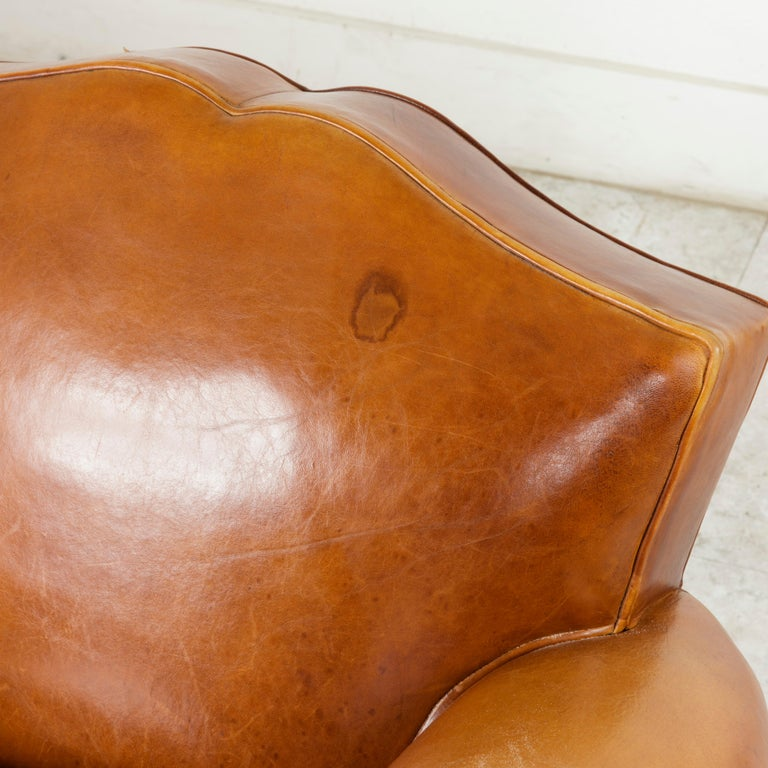 Pair of French Art Deco Period Leather Moustache Club Chairs, circa 1940 For Sale 4