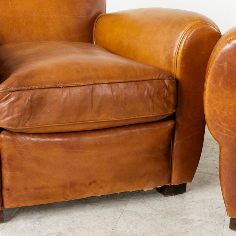 Pair of French Art Deco Period Leather Moustache Club Chairs, circa 1940 For Sale 5