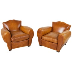 Pair of French Art Deco Leather Club Chairs, Moustache Back Club Chairs