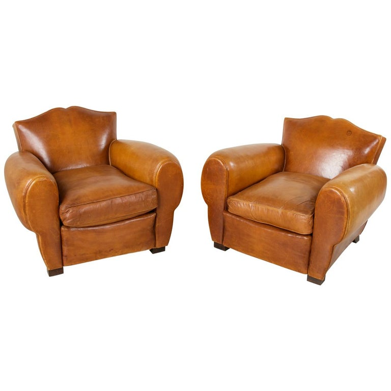 Pair of French Art Deco Period Leather Moustache Club Chairs, circa 1940 For Sale