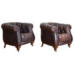 Pair of French Art Deco Period Tufted Leather Upholstered Club Chairs
