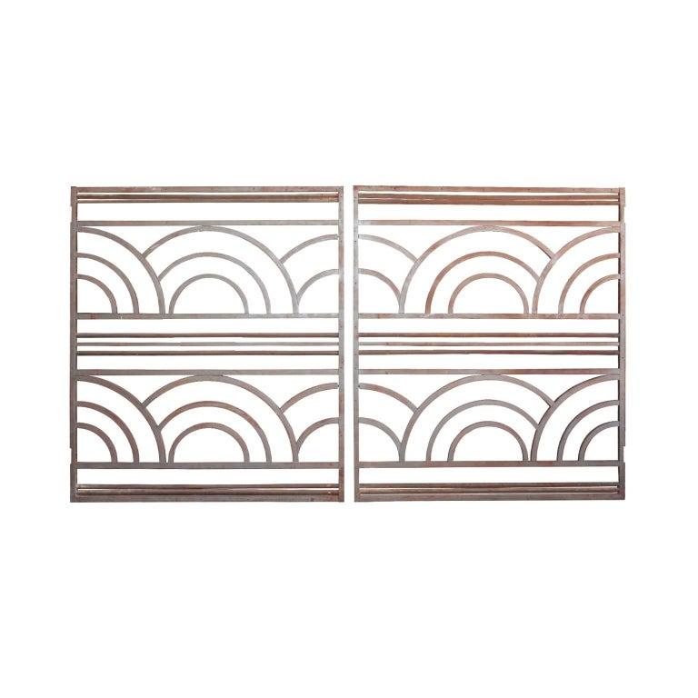 Pair of French Art Deco Period Wrought Iron Gates
