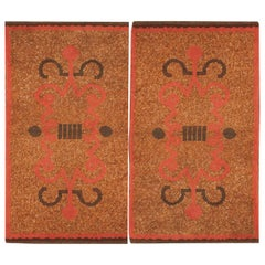 Pair of French Art Deco Rugs from 1920's. Size: 2 ft 9 in x 4 ft 8 in (each)
