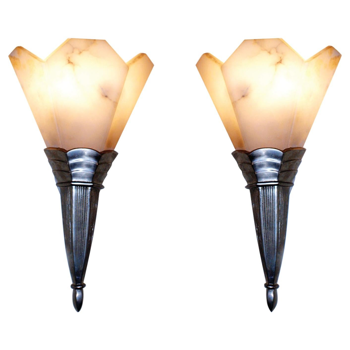 Pair of French Art Deco Sconces Attributed to Albert Cheuret