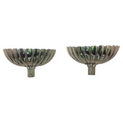 Pair of French Art Deco Silver Wall Sconces, Mid-20th Century